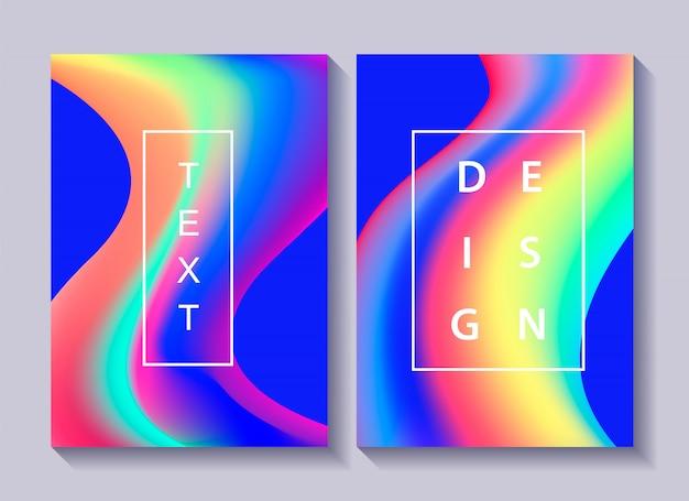 Satz kreativer designposter mit buntem abstraktem flüssigkeits- und flüssigkeitsdesign.