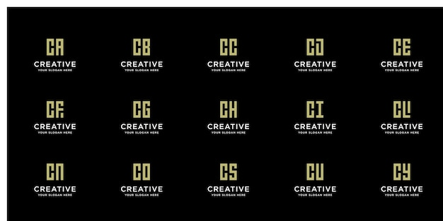 Satz kreativer goldlogos mit initiale c
