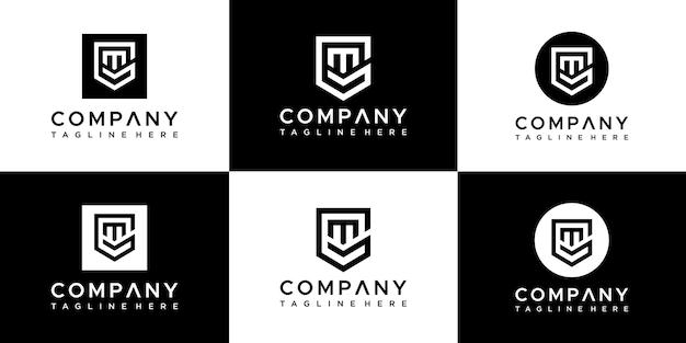 Satz kreativer initialen buchstabe gm logo design