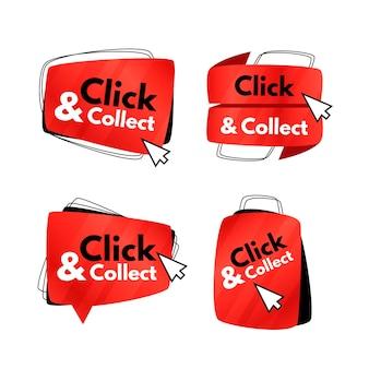 Satz kreativer klick- und sammelschaltflächen
