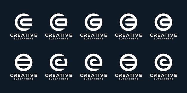 Satz kreativer logobuchstaben e mit kreisstil