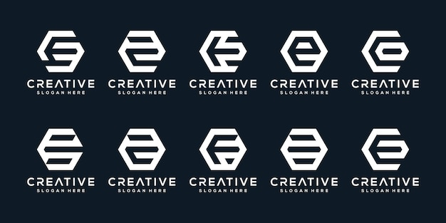 Satz kreativer logobuchstaben e mit sechseckstil