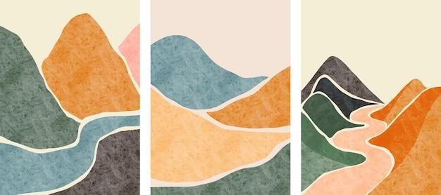 Satz kreativer minimalistischer handbemalung. hintergrund der abstrakten künste. Premium Vektoren