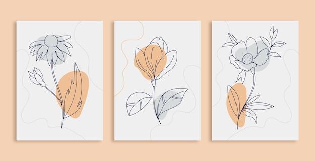 Satz kreativer minimalistischer handgemalter abstrakter botanischer blumenlinienkunsthintergrund
