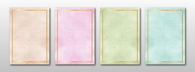 Satz kreativer minimalistischer handgemalter aquarellhintergrund