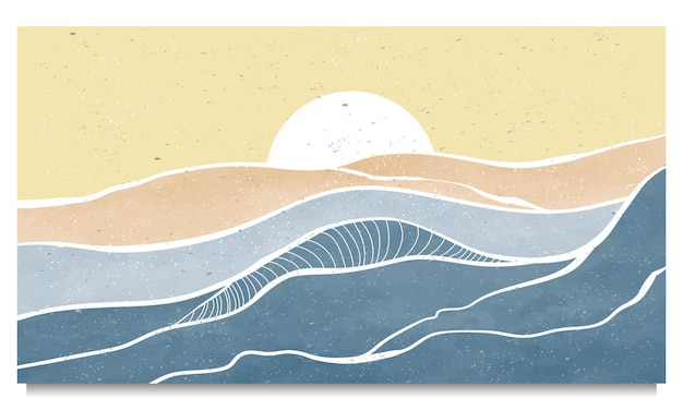 Satz kreativer minimalistischer moderner strichgrafikdruck. abstrakte zeitgenössische ästhetische landschaften der ozeanwelle. mit meer, skyline, welle.