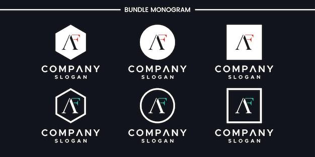 Satz kreativer monogrammbuchstabe af logoentwurf