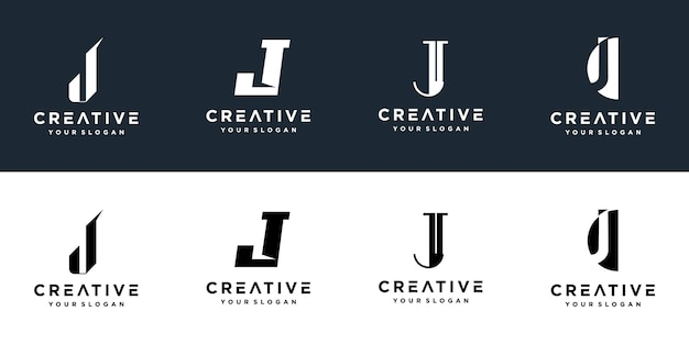 Satz kreativer monogrammbuchstaben j logos