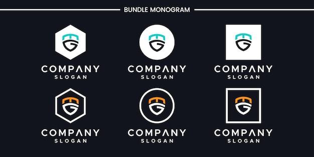 Satz kreativer monogrammbuchstaben, z. b. logo-design