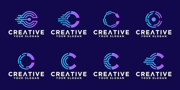 Satz kreatives abstraktes monogrammbuchstaben-c-technologie-logo-design