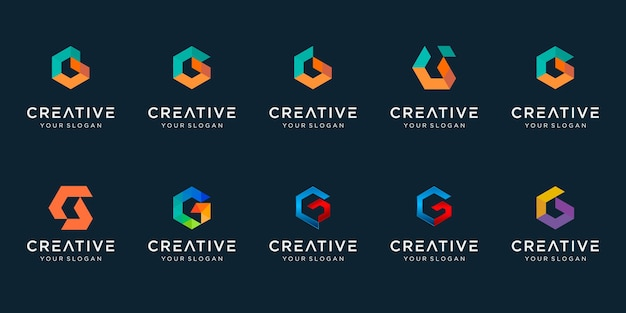 Satz kreatives abstraktes monogrammbuchstaben-gc-logo-design. Premium Vektoren