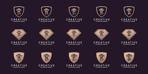 Satz kreatives bündel-monogramm-logo-design-anfangsbuchstabe m bis s mit strichzeichnungen und negativem raumkonzept premium-vektor