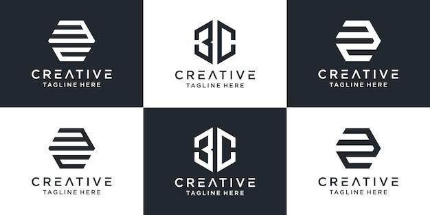 Satz kreatives monogramm 3c-logo mit sechseck-design
