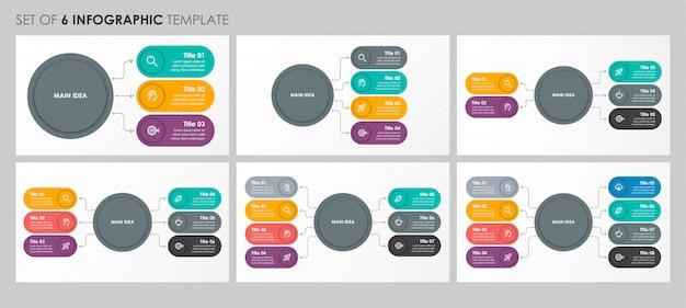 Satz kreisförmiges infografik-design mit symbolen und 4, 5, 6, 8 optionen oder schritten. unternehmenskonzept.