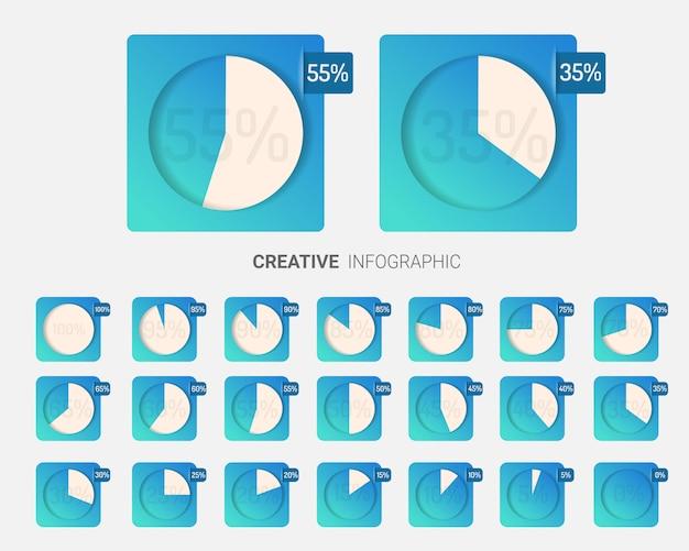Satz kreisprozentsatzdiagramme für infografiken.