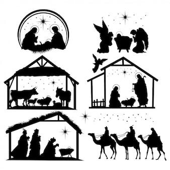 Satz krippenschattenbilder. sammlung traditioneller christlicher figuren heilige nacht.