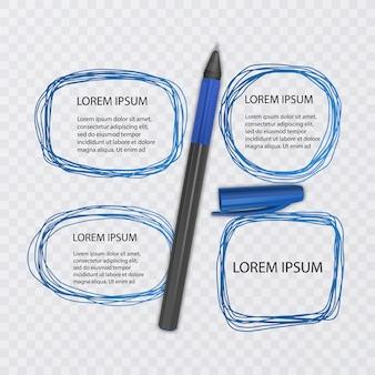 Satz kritzeleien. kritzelsammlung. tuschenskizzen von blauer farbe mit realistischem stift. illustration