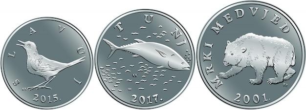 Satz kroatischer geldkuna-silbermünzen