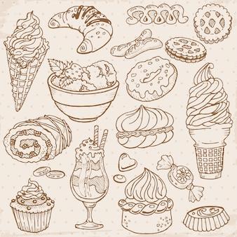 Satz kuchen, süßigkeiten und desserts handgezeichnet