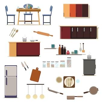 Satz küchendekoration des küchenraumes