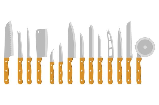 Satz küchenmesser aus stahl, die eine sammlung von kochgeräten für scharfe werkzeuge schnitzen, schälen und verwenden.