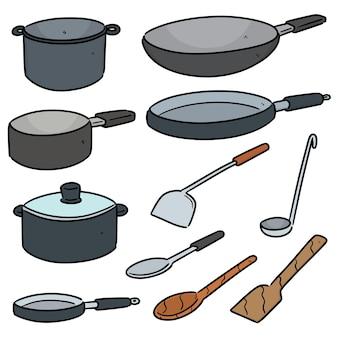 Satz küchenwerkzeug lokalisiert auf weiß