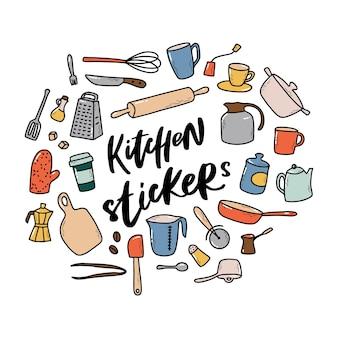 Satz küchenwerkzeuge kritzeleien
