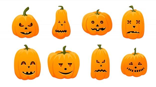 Satz kürbis isoliert. symbol des halloween-feiertags.