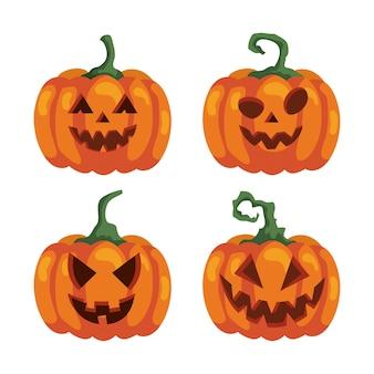 Satz kürbisse für glückliche halloween-feier