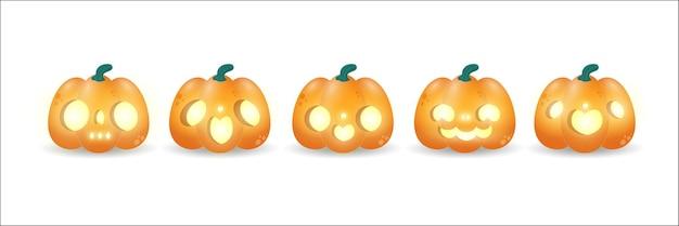 Satz kürbissymbol des glücklichen halloween-feiertags