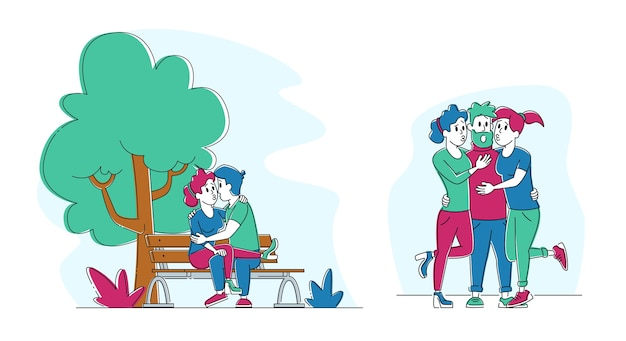 Satz küssende leute. paar, das auf bank im sommer-stadtpark flirtet