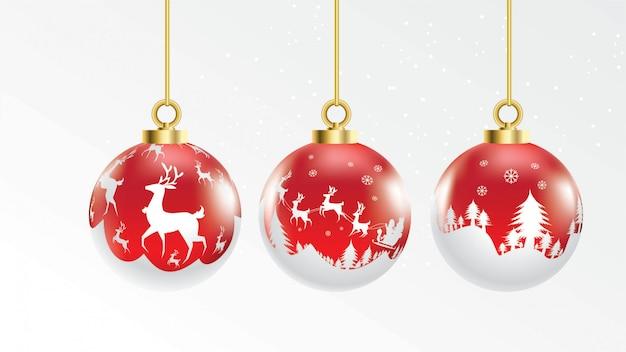 Satz kugeln des vektors rote und weiße weihnachten mit verzierungen