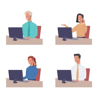 Satz lächelnder junger frauen- und mannbetreiber mit headset, der mit kunden spricht.