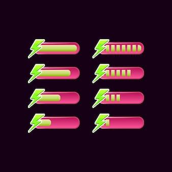 Satz lässiger rosa spiel-ui-energie-fortschrittsbalken