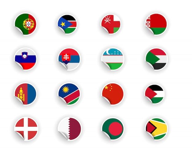 Satz landflagge in aufklebern