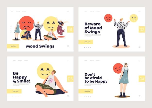 Satz landing pages mit konzept für emotionale gesundheit und stimmungsschwankungen