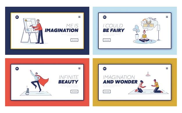 Satz landing pages mit kreativen menschen für wunder und phantasiekonzept