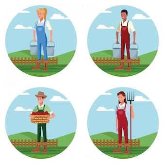 Satz landwirte, die in den bauernhofkarikaturen arbeiten