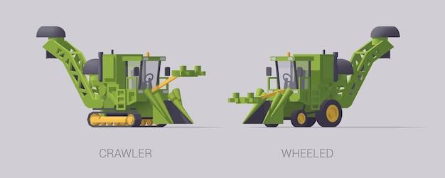 Satz landwirtschaftsmaschine lokalisiert auf grau