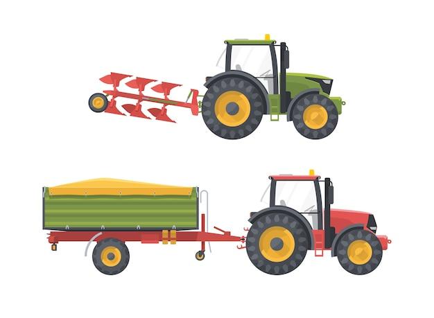 Satz landwirtschaftsmaschinen mit ausrüstung