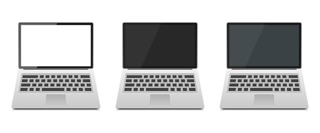 Satz laptop-gerät auf weiß isoliert