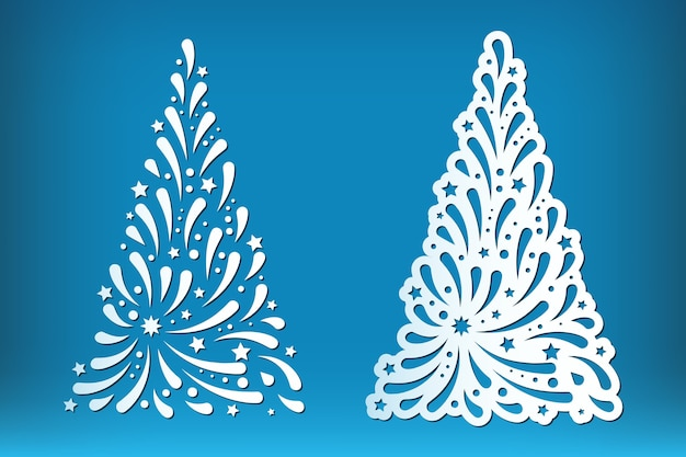 Satz lasergeschnittener weihnachtsbaum lokalisiert auf blau