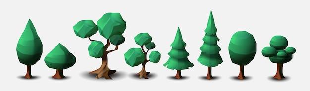 Satz laub- und nadelbäume lokalisiert auf einem weißen hintergrund.