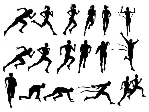 Satz laufender männer und frauen. sammlung von silhouetten laufender menschen.