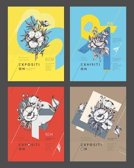 Satz layout-poster vorlagen. modernes klares design mit bunter blumenzusammensetzung. vektor-illustration.