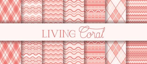 Satz lebende korallenmuster der beschaffenheiten