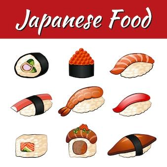 Satz lebensmittel des japaners, sushi