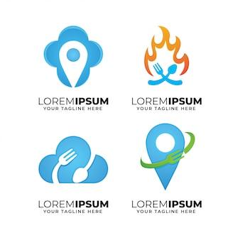 Satz lebensmittelelement-logo-designschablone