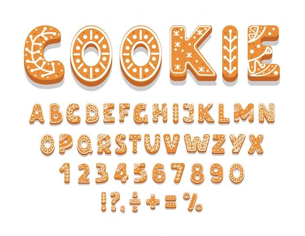 Satz lebkuchenplätzchen-alphabet, zahlen, feiertagsgenuss, süßes gebäck der verschiedenen formen, satzzeichen, illustration.