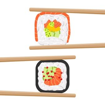 Satz leckere farbige sushirollen mit essstäbchen